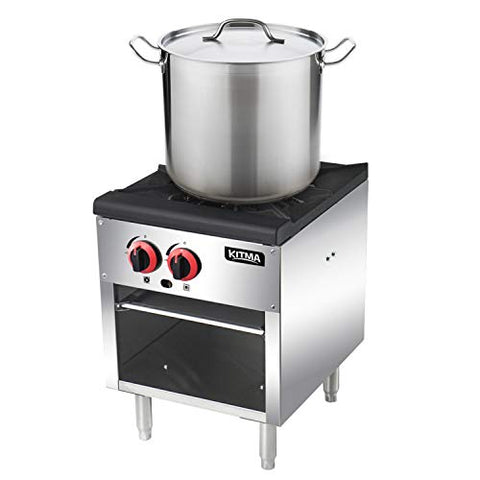 18 Inches Single Stock Pot Stove - KITMA Liquid Propane Stock Pot Range with 2 Manual Controls for Restaurant, 80,000 BTU