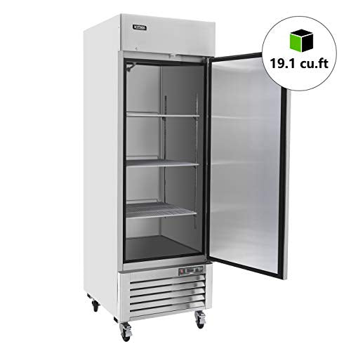 Commercial Single Door Upright Freezer - KITMA Stainless steel Reach In Freezer with 3 Shelves for Restaurant, Bar, 0°F - 8°F