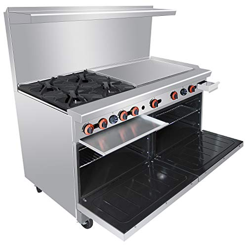 Heavy Duty 60''Gas 4 Burner Range With 36'' Griddle and 2 Standard Ovens - Kitma Liquid Propane Cooking Performance Group for Kitchen Restaurant, 221,000 BTU