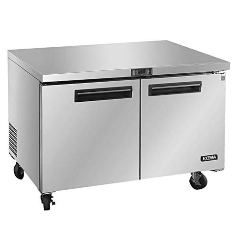 Commercial Undercounter Refrigerator - KITMA 60 Inches 17 Cu.Ft Stainless Steel Under Counter Fridge, 2 Section, 33°F -38°F
