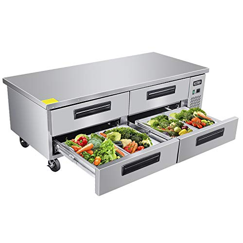 Commercial 4 Drawer Refrigerated Chef Base - KITMA 72 Inches Stainless Steel Chef Base Work Table Refrigerator, 33 °F - 38°F