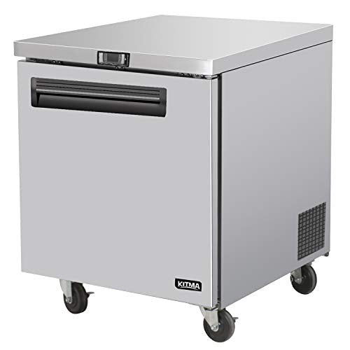 Commercial Single Door Undercounter Refrigerators - KITMA 7 Cu. Ft Stainless Steel Worktop Fridge for Kitchen, 33°F -38°F