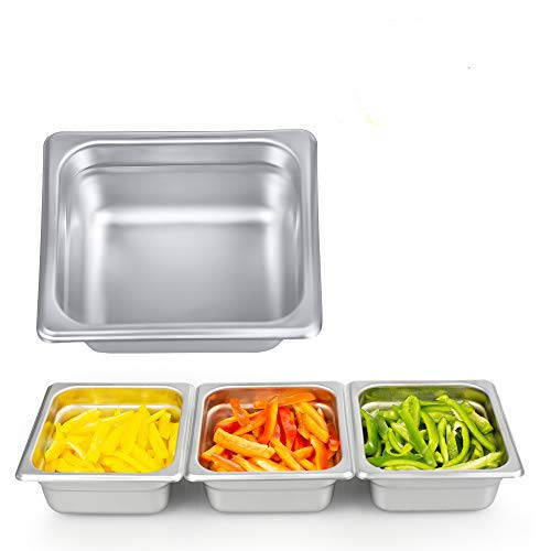 "2 1/2"" Deep Steam Table Pan 1/6 Size, 1.2 Quart Stainless Steel Anti-Jam Standard Weight Hotel GN Food Pans - NSF (7.28""L x 6.77""W)"