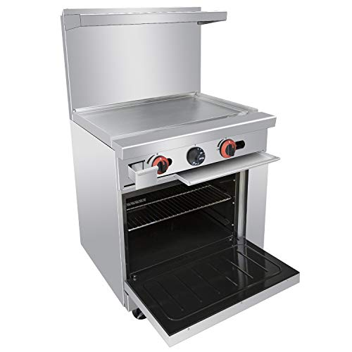 Commercial 24'' Gas Range With Griddle and Standard Oven - Kitma Heavy Duty Liquid Propane Cooking Performance Group for Kitchen Restaurant, 72,000 BTU