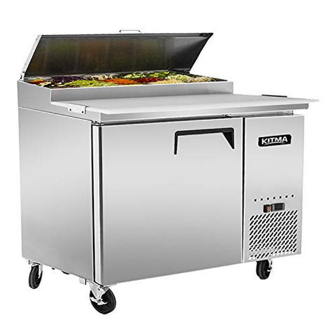 44 Inches Single Door Pizza Prep Table Refrigerator - KITMA 9.7 Cu.Ft Refrigerated Pizza Prep Station Table with Cutting Board and Pans for Restaurant, 33 °F - 38°F