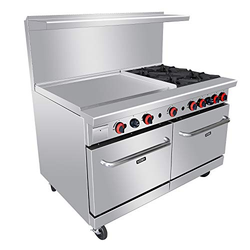 Heavy Duty 60''4 Burner Gas Range With 36'' Griddle and 2 Standard Ovens - Kitma Liquid Propane Cooking Performance Group for Kitchen Restaurant, 221,000 BTU
