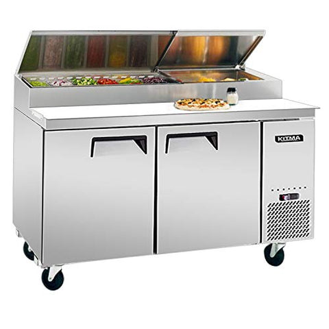 Kitma 67'' 2 Door Refrigerated Pizza Prep Table - Commercial 20 Cu.Ft Salad PrepTable Refrigerator with 9 Pans and Cutting Board for Restaurant, 33 °F - 38°F