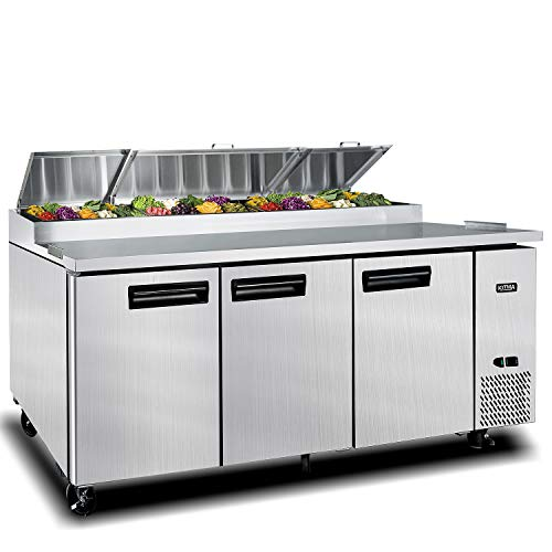 93 Inches 3 Door Pizza Prep Table Refrigerator - KITMA 28.4 Cu.Ft Refrigerated Salad Prep Station Table with Cutting Board and 12 Pans for Restaurant, 33 °F - 38°F