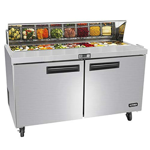 60 Inches 2 Door Mega Top Sandwich Prep Table Refrigerator - KITMA 18.6 Cu.Ft Refrigerated Salad Prep Station Table with Cutting Board and 24 Pans, 33 °F - 38°F