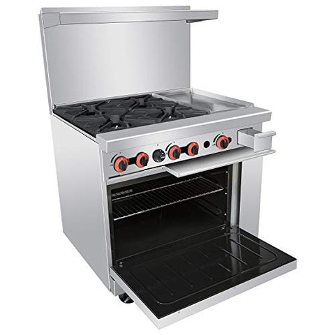 Heavy Duty 36'' 4 Burner Range With 12'' Griddle and Standard Oven - Kitma Liquid Propane Cooking Performance Group for Kitchen Restaurant, 140,000 BTU