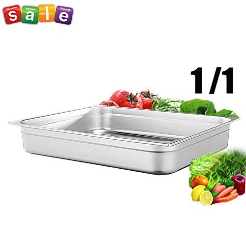 "2 1/2"" Deep Steam Table Pan Full Size ,8.3 Quart Stainless Steel Anti-Jam Standard Weight Hotel GN Food Pans - NSF (21.26""L x 13.19""W)"