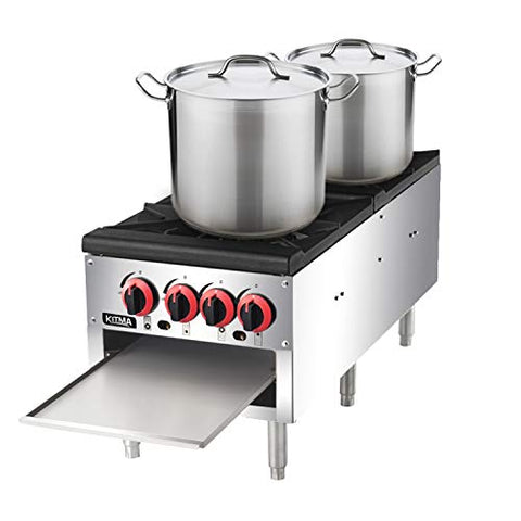 18 Inches 2 Stock Pot Stove - KITMA Natural Gas Stock Pot Range with 4 Manual Controls for Restaurant(Short Body) - 160,000 BTU