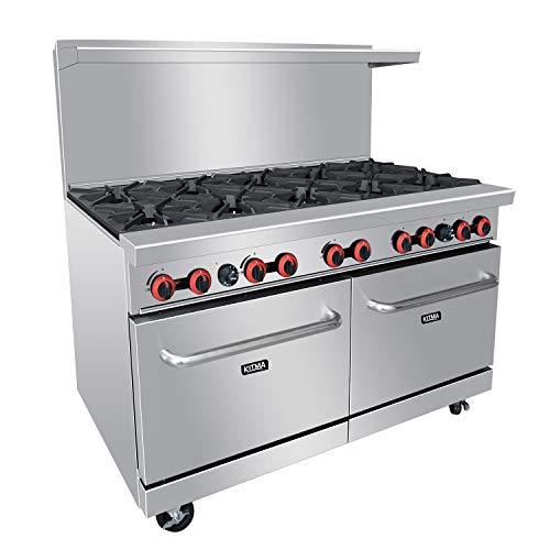 Commercial 60''Gas 10 Burner Range With 2 Ovens - Kitma Heavy Duty Liquid Propane Cooking Performance Group for Kitchen Restaurant, 304,000 BTU