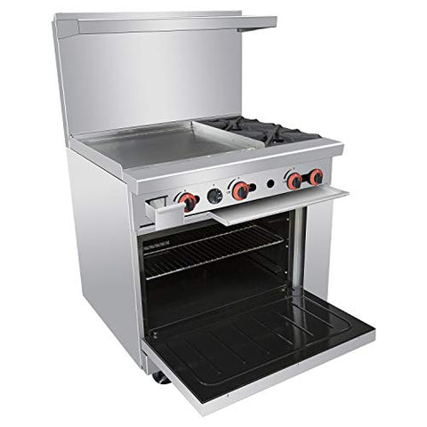 Commercial 36''Gas 2 Burner Range With Griddle and Standard Oven - Kitma Heavy Duty Natural Gas Cooking Performance Group for Kitchen Restaurant, 125,000 BTU