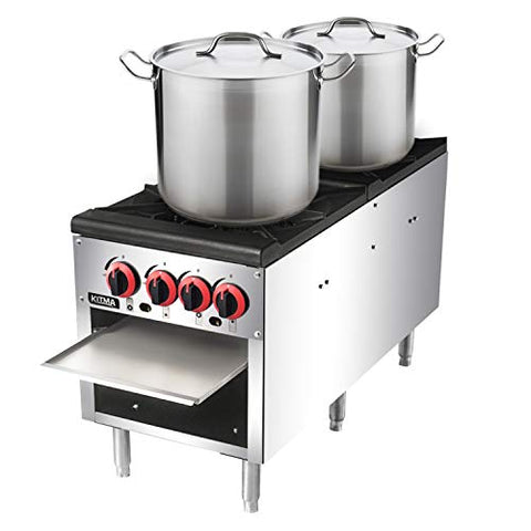 18 Inches 2 Stock Pot Stove - KITMA Liquid Propane Countertop Stock Pot Range with 4 Manual Controls for Restaurant, 160,000 BTU
