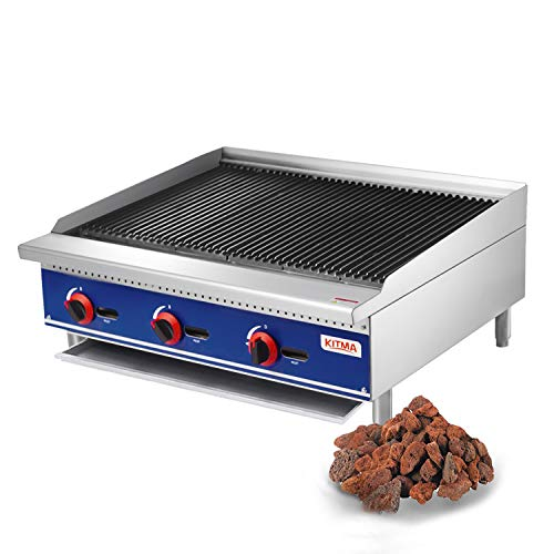 Kitma Commercial Countertop Lava Rock Charbroiler 36 Inches Natural Gas Char Rock Broiler with Grill - Restaurant Equipment for Barbecue