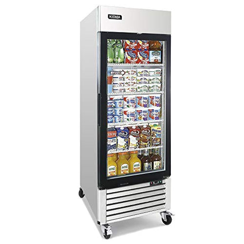 Single Glass Door Merchandiser Freezer - KITMA 19.1 Cu.Ft Merchandiser Display Case with LED Lighting for Restaurants, 0°F - 8°F