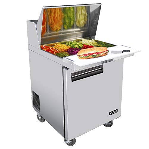 28 Inches Single Door Salad Prep Table Refrigerator - KITMA 7.15 Cu. Ft Stainless Steel Sandwich Prep Station Table with Cutting Board and Pans, 33 °F - 38°F