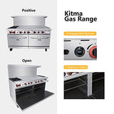 Heavy Duty 60''Gas 2 Burner Range With Griddle and 2 Standard Ovens - Kitma Liquid Propane Cooking Performance Group for Kitchen Restaurant, 202,000 BTU