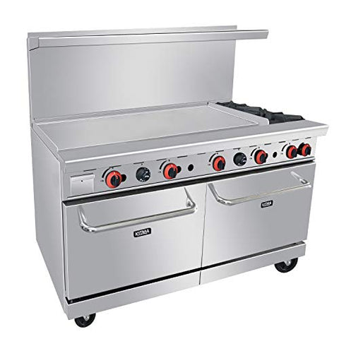 Heavy Duty 60''Gas Range With 48'' Griddle and 2 Standard Ovens - Kitma Liquid Propane Cooking Performance Group for Kitchen Restaurant, 202,000 BTU