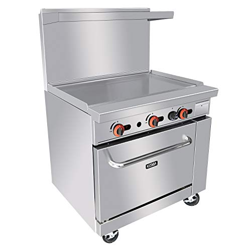 Heavy Duty 36''Gas Range with 36'' Griddle and with Standard Oven - Kitma Liquid Propane Cooking Performance Group for Kitchen Restaurant, 102,000 BTU