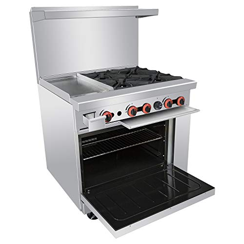 Commercial 36''Gas 4 Burner Range With Griddle and Standard Oven - Kitma Heavy Duty Natural Gas Cooking Performance Group for Kitchen Restaurant, 148,000 BTU