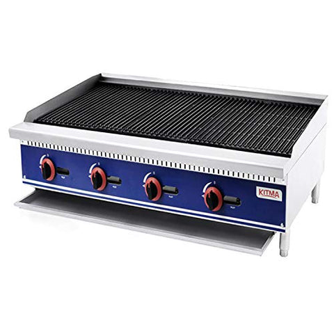 Commercial Countertop Radiant CharBroiler - KITMA 48 Inches Natural Gas Char Broiler with Grill - Restaurant Equipment for Barbecue