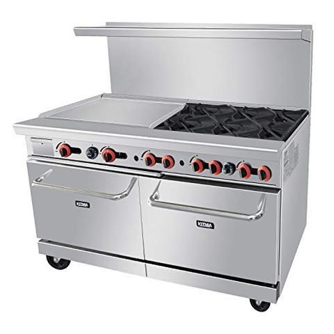 Commercial 60'' Gas 6 Burner Range With 24'' Griddle and Standard Oven - Kitma Heavy Duty Liquid Propane Cooking Performance Group for Kitchen Restaurant, 240,000 BTU