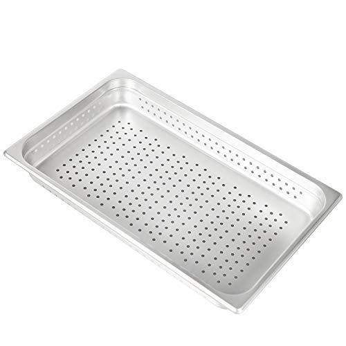 "2 1/2"" Deep Perforated Steam Table Pan Full Size ,Stainless Steel Anti-Jam Standard Weight Hotel GN Food Pans - NSF (21.26""L x 13.19""W)"