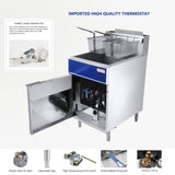 75 lb. Deep Fryer with 2 Fryer Baskets, 75 Pound 21 Inch Stainless Steel Natural Gas Floor Fryer with Thermostat