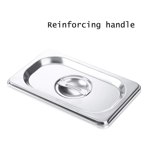 1/9 Size Stainless Steel Solid Steam Table Pan Cover,Pan Lids, Non-Stick Surface, Lid for 1/9 Size Steam Pans with Handle