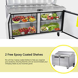 60 Inches 2 Door Mega Top Sandwich Prep Table Refrigerator - KITMA 18.6 Cu.Ft Refrigerated Salad Prep Station Table with Cutting Board and Pans, 33 °F - 38°F
