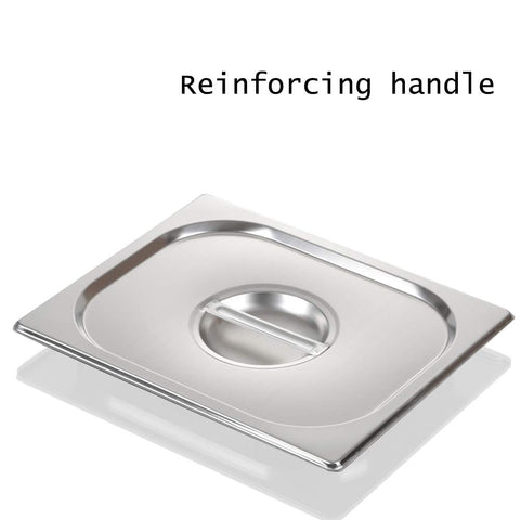 1/2 Size Stainless Steel Solid Steam Table Pan Cover, Half Size Pan Lids, Non-Stick Surface, Lid for 1/2 Size Steam Pans with Handle