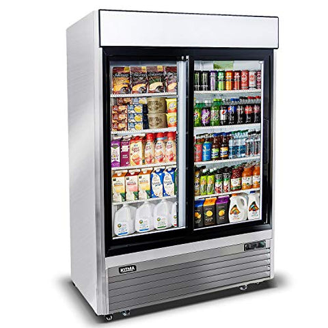 Kitma 44.8 Cu.Ft Sliding Glass 2 Door Merchandiser Refrigerator - Commercial Display Beverage Cooler with LED Lighting, 33°F - 38°F