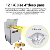 28 Inches Single Door Mega Top Sandwich Prep Table Refrigerator - KITMA 7.9 Cu.Ft Stainless Steel Refrigerated Salad Sandwich Prep Station Table with Cutting Board and 12 Pans, 33 °F - 38°F