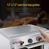 Commercial 24''Gas Range With Griddle and Standard Oven - Kitma Heavy Duty Natural Gas Cooking Performance Group for Kitchen Restaurant, 72,000 BTU
