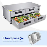Commercial 4 Drawer Refrigerated Chef Base - KITMA 72 Inches Stainless Steel Chef Base Work Table Refrigerator - Kitchen Equipment Stand, 33 °F - 38°F