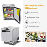 Commercial Single Door Undercounter Freezer - KITMA 7 Cu. Ft Stainless Steel Worktop Freezer for Kitchen, 0°F - 8°F