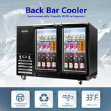 KITMA 59'' 2 Door Back Bar Cooler - Stainless Steel 17.3 Cu.Ft Counter Height Beverage Refrigerator with LED Lighting, 33°F - 38°F