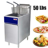 Kitma Commercial Deep Fryer - 50 lb. Natural Gas 4 Tube Floor Fryer with 2 Fryer Baskets - Restaurant Kitchen Equipment for French Fries, 136,000 BTU/h