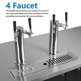 Commercial Dual Tap Kegerator - KITMA 90 Inches Keg Beer Cooler Refrigerator with Digital Display, 4 Faucet, 33°F - 38°F