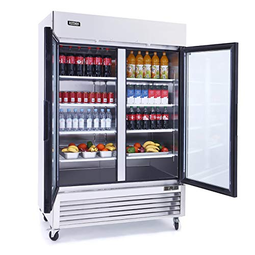 Merchandiser Refrigerator with 2 Glass Door - KITMA 49 Cu.Ft Stainless Steel Display Beverage Cooler with LED Lighting for Restaurant, 33°F - 38°F