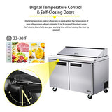48 Inches 2 Door Mega Top Sandwich Prep Table Refrigerator - KITMA 14.7 Cu.Ft Refrigerated Salad Prep Station Table with Cutting Board and 18 Pans, 33 °F - 38°F
