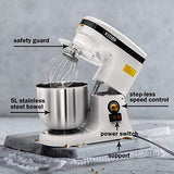 5QT Electric Stand Mixer - Kitma 200W Multiple Speeds Tilt- Head Kitchen Baking Mixer with Stainless Steel Bowel, Dough Hooks, Whisk, Beater, Safety Guard, Pouring Shield, Only Ship to CA, NV, AZ