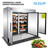 Commercial 3 Door Upright Freezer - KITMA Stainless Steel Side by Side Bottom Fridge with Shelves for Restaurant, Bar, 0°F - 8°F
