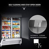 KITMA Merchandiser Refrigerator with 2 Glass Door - Commercial 49 Cu.Ft Display Beverage Cooler with LED Lighting, 33°F - 46°F