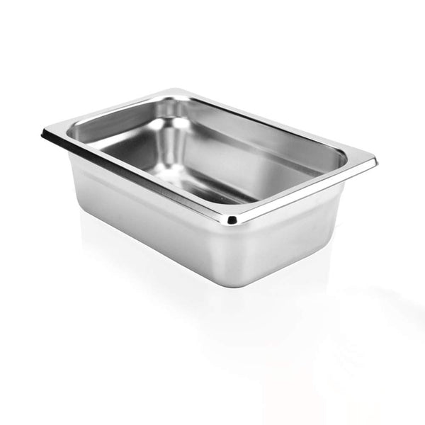 "2 1/2"" Deep Steam Table Pan 1/9 Size, 0.6 Quart Stainless Steel Anti-Jam Standard Weight Hotel GN Food Pans - NSF (7.28""L x 4.53""W)"