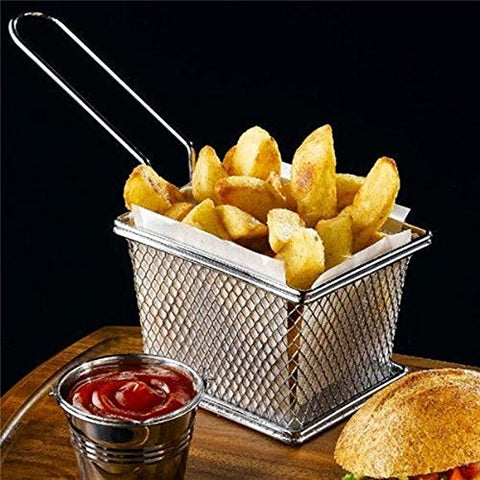 Stainless Steel Mini Square Fry Basket French Fries Holder, (Small 4inch)