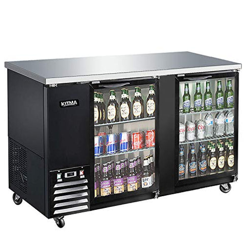 KITMA 69'' 2 Door Back Bar Cooler - Stainless Steel 21.5 Cu.Ft Beverage Cooler with LED Lighting, 33°F - 38°F