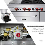 Commercial 36'' Gas 4 Burner Range With 12'' Griddle and Standard Oven - Kitma Heavy Duty Liquid Propane Cooking Performance Group for Kitchen Restaurant, 140,000 BTU